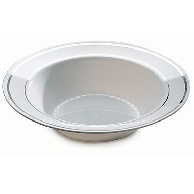 Silver Splendor Plastic White With Silver Round China-Like Bowl 12 Oz.