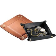 Royce Leather Suede Valet Tray, Black
