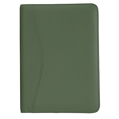 Royce Leather Junior Writing Padfolio, Green, Silver Foil Stamping, 3 Initials