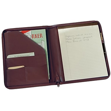 Royce Leather Zip Around Writing Padfolio, Burgundy, Silver Foil Stamping, 3 Initials