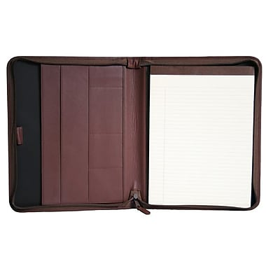 Royce Leather Convertible Zip Around Large Pad holder, Burgundy, Gold Foil Stamping, 3 Initials