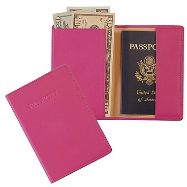 Royce Leather RFID Blocking Passport Jacket, Wildberry (RFID-203-WB-5), Gold Foil Stamping, Full Name