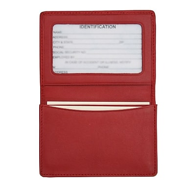 Royce Leather Business Card Holder, Red, Silver Foil Stamping, 3 Initials