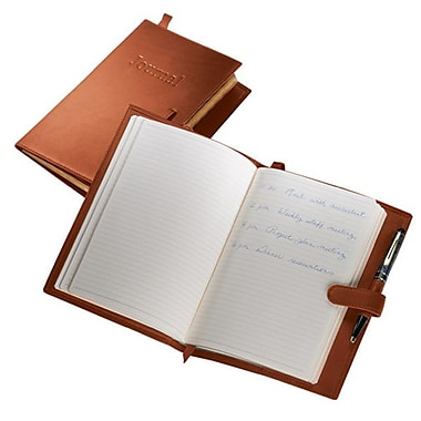 Royce Leather Handcrafted Leather Journal, Tan, Debossing, 3 Initials
