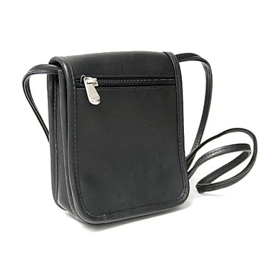 Royce Leather Vaquetta Petite Flapover Crossbody Bag, Black