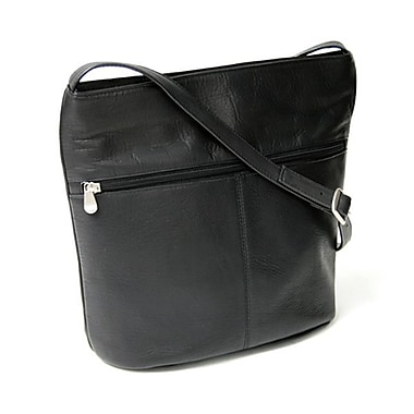 Royce Leather Shoulder Bag with Front Zipper, Black, Silver Foil Stamping, Full Name