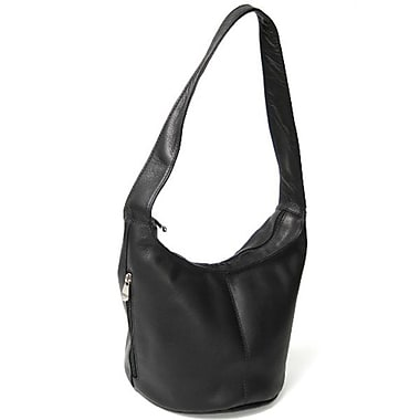 Royce Leather Hobo Bag with Side Zip Pocket, Black, Gold Foil Stamping, 3 Initials