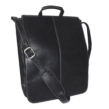 Royce Leather – Sac de messager vertical de 17 po, noir, dégaufrage, nom complet