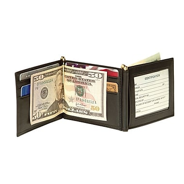 Royce Leather Men's Double Money Clip Wallet, Black, Silver Foil Stamping, 3 Initials