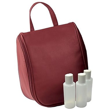 Royce Leather Toiletry Bag with Removable Pouch, Burgundy, Silver Foil Stamping, 3 Initials