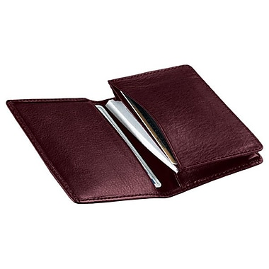 Royce Leather Deluxe Business Card Case, Burgundy, Silver Foil Stamping, 3 Initials