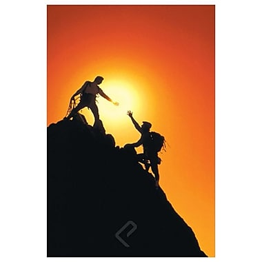Mountain Climbers Reach Summit, Stretched Canvas, 24