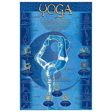 Positions de yoga et chakras, toile tendue, 24 x 36 po