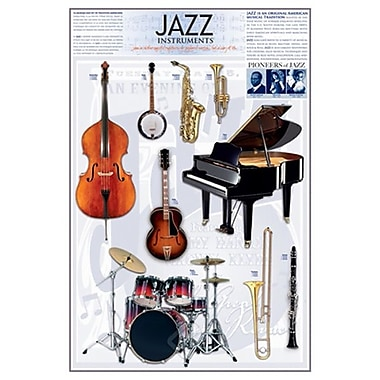 Jazz Instruments, Stretched Canvas, 24