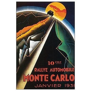 Rallye automobile Monte-Carlo, toile tendue, 24 x 36 po