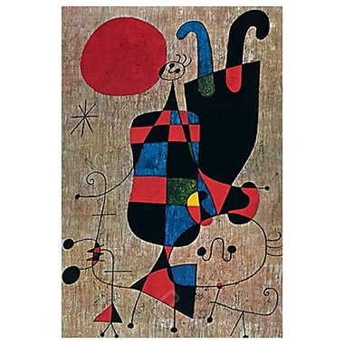 Personnage et chien devant le soleil de Miro, toile, 24 x 36 po