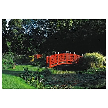 Japanese Bridge Over Pond, Stretched Canvas, 24