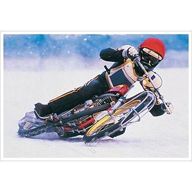 Motocyclette sur la glace, toile tendue, 24 x 36 po