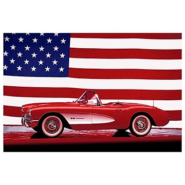 Corvette 1957 U.S. Flag, Stretched Canvas, 24