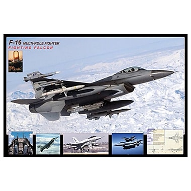 Airplane F-16 Fighting Falcon, Stretched Canvas, 24