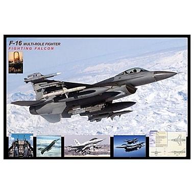 Avion F-16 Fighting Falcon, toile tendue, 24 x 36 po