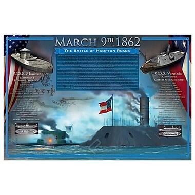 La bataille de Hampton Roads, toile, 24 x 36 po