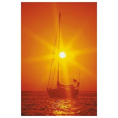 Sailboat Silhouette at Sunset, Stretched Canvas, 24