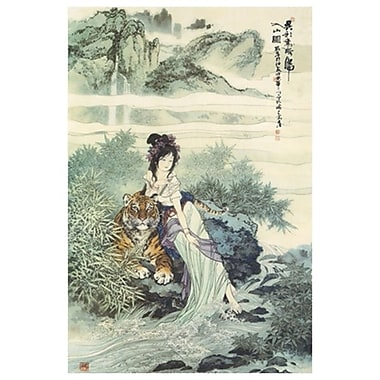 Dame avec tigre, toile tendue, 24 x 36 po