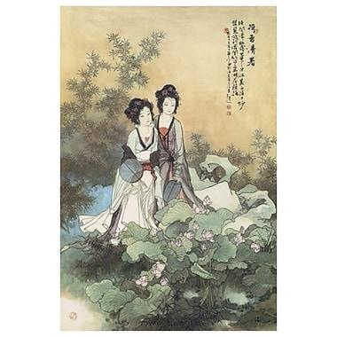 Dames avec fleurs de lotus, toile, 24 x 36 po