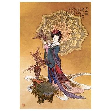 Dame avec fleurs de prunier, toile, 24 x 36 po