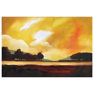 Ciel jaune et lac de D'Agostino, toile, 24 x 36 po