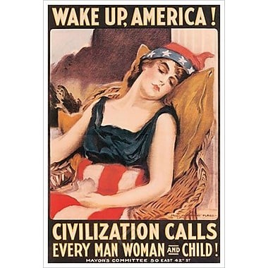 Wake Up America by Flagg, Canvas, 24