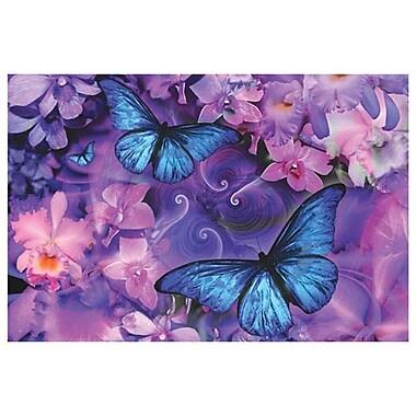 Orchidées et papillons par Mullins, toile, 24 x 36 po