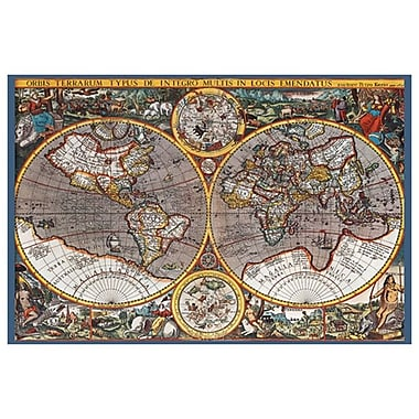 Carte du monde II, toile tendue, 24 x 36 po