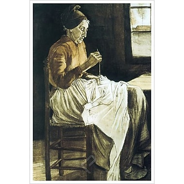 Old Woman Sewing by Van Gogh, Canvas, 24