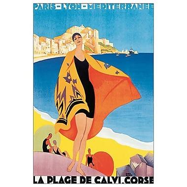 La Plage Calvi, Corse de Broders, toile, 24 x 36 po