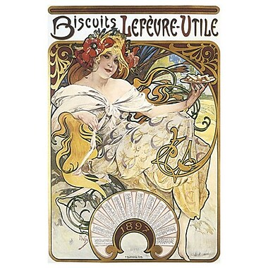 Biscuits Lefevre by Mucha, Canvas, 24