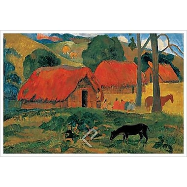Village in Tahiti by Gauguin, Canvas, 24