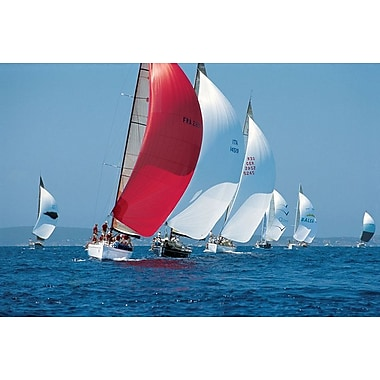 Red Sail Leading The Way, Stretched Canvas, 24