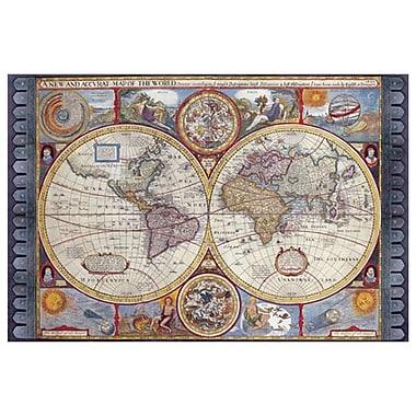Carte - Carte antique du Nouveau Monde, toile tendue, 24 x 36 po