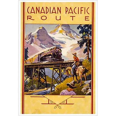 CP Canadian Pacific Route, Stretched Canvas, 24