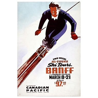 Canadian Pacific – Ski Tours Banff, toile tendue, 24 x 36 po