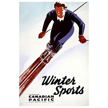 Canadian Pacific – Winter Sports at Banff II, toile tendue, 24 x 36 po