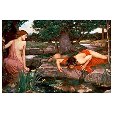 Echo and Narcissus by Waterhouse, Canvas, 24
