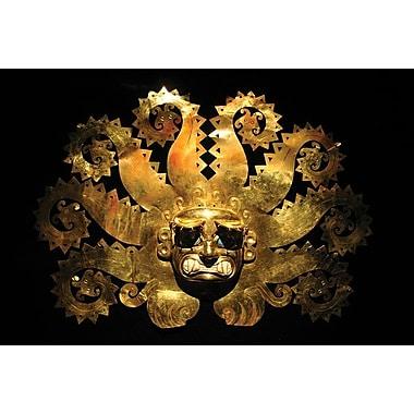 Masque du dieu soleil inca, toile tendue, 24 x 36 po