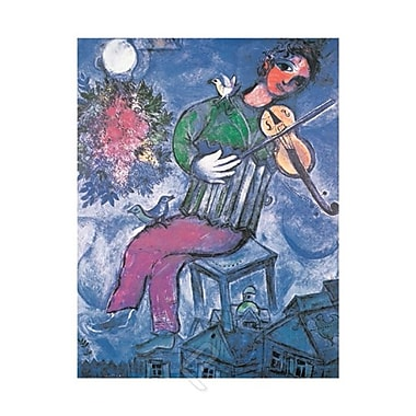 Chagall - The Blue Violinist Art Print Poster, 23-1/2