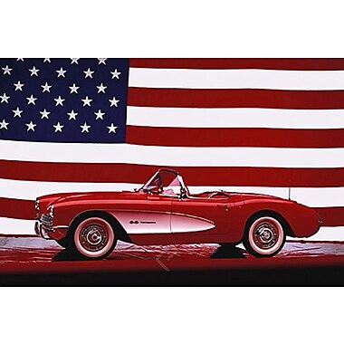 Corvette, 1957 - U.S. Flag Poster, 24