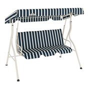 CorLiving™ Nantucket Polyester Patio Swing, Navy/Cream
