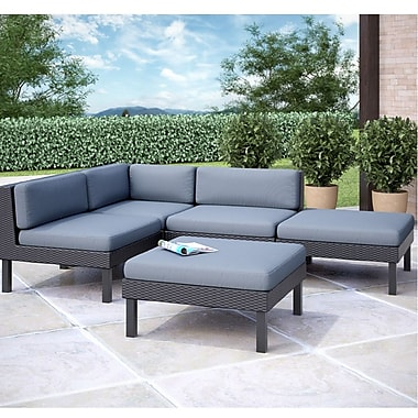 CorLiving™ Oakland 5-Piece Sectional With Chaise Lounge Patio Set, Dove Gray/Black