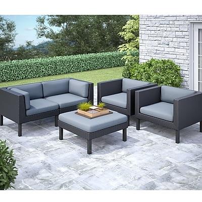 CorLiving Oakland 5-Piece Sofa and Chair Patio Set, Dove Gray/Black 1031190